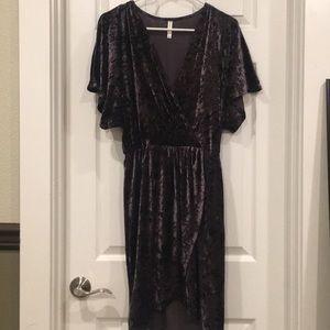 Dark purple velvet dress